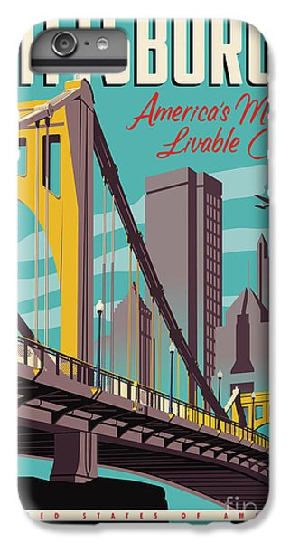 City Scenes iPhone 6 Plus Case - Pittsburgh Poster - Vintage Travel Bridges by Jim Zahniser