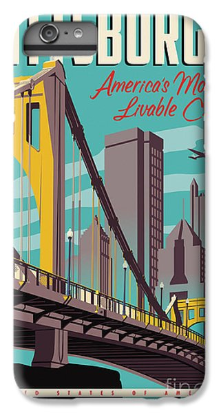 Vintage Style Pittsburgh Travel Poster IPhone 6 Plus Case by Jim Zahniser