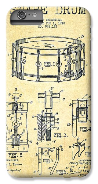 Folk Art iPhone 6 Plus Case - Waechtler Snare Drum Patent Drawing From 1910 - Vintage by Aged Pixel