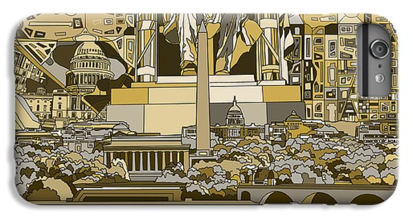 Lincoln Memorial iPhone 6 Plus Case - Washington Dc Skyline Abstract 4 by Bekim Art
