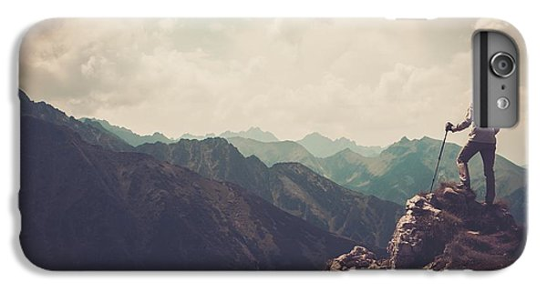 Nature Trail iPhone 6 Plus Case - Woman Hiker On A Top Of A Mountain by Nejron Photo