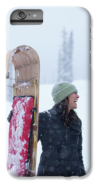 Knit Hat iPhone 6 Plus Case - Woman Standing With Toboggan Sled by Woods Wheatcroft