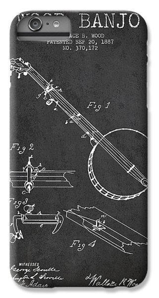 Folk Art iPhone 6 Plus Case - Wood Banjo Patent Drawing From 1887 - Dark by Aged Pixel
