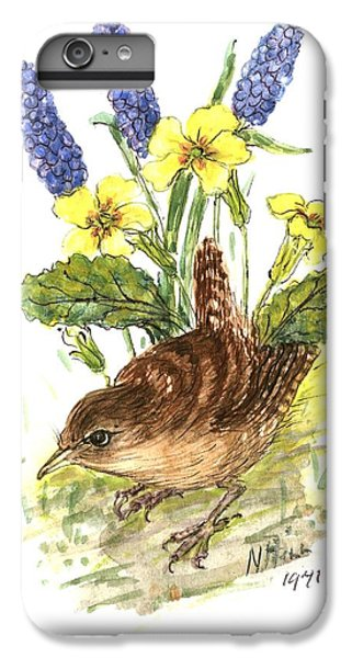 Wren In Primroses  IPhone 6 Plus Case by Nell Hill