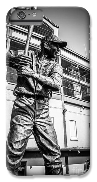 Wrigley Field Ernie Banks Statue In Black And White IPhone 6 Plus Case by Paul Velgos