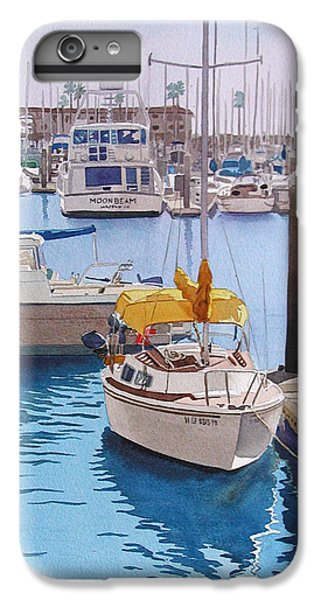 Boat iPhone 6 Plus Case - Yellow Sailboat Oceanside by Mary Helmreich