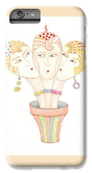 IPhone 6 Plus Case featuring the painting Flower Pot Ladies by Nareeta Martin