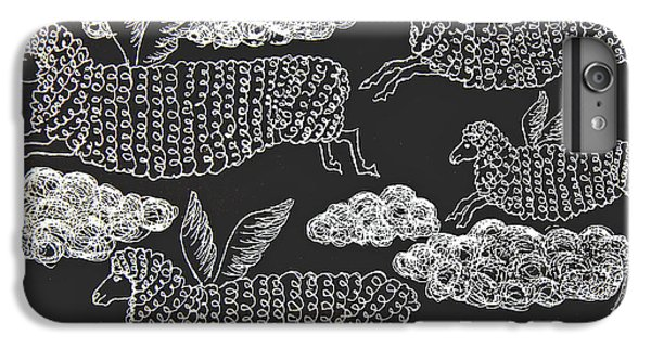 IPhone 6 Plus Case featuring the drawing And Sheep Can Fly by Nareeta Martin