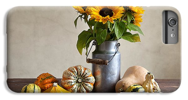 Sunflower iPhone 6 Plus Case - Pumpkins And Sunflowers by Nailia Schwarz