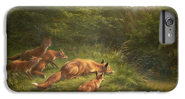 Foxes Waiting For The Prey   IPhone 6 Plus Case by Carl Friedrich Deiker