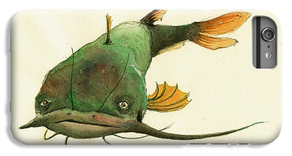Catfish iPhone 6 Plus Case - Channel Catfish Fish Animal Watercolor Painting by Juan  Bosco
