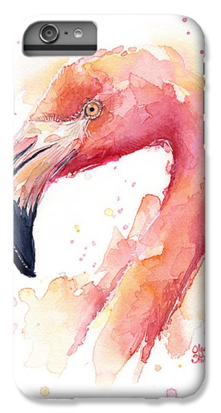 Flamingo iPhone 6 Plus Case - Flamingo Watercolor by Olga Shvartsur