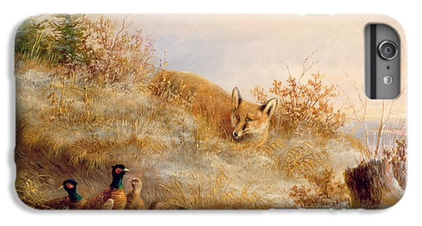 Pheasant iPhone 6 Plus Case - Fox And Pheasants In Winter by Anonymous