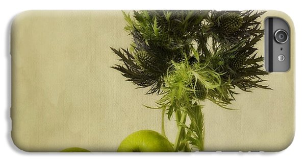 Fruits iPhone 6 Plus Case - Green Apples And Blue Thistles by Priska Wettstein