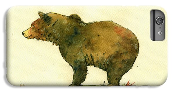 Bear iPhone 6 Plus Case - Grizzly Bear Watercolor Painting by Juan  Bosco