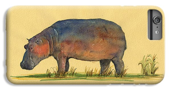 Hippo Watercolor Painting  IPhone 6 Plus Case