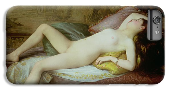 Nudes iPhone 6 Plus Case - Nude Lying On A Chaise Longue by Gustave-Henri-Eugene Delhumeau