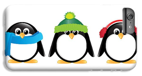 Penguins Isolated IPhone 6 Plus Case by Jane Rix