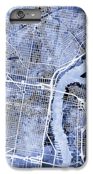 Philadelphia Pennsylvania City Street Map IPhone 6 Plus Case by Michael Tompsett