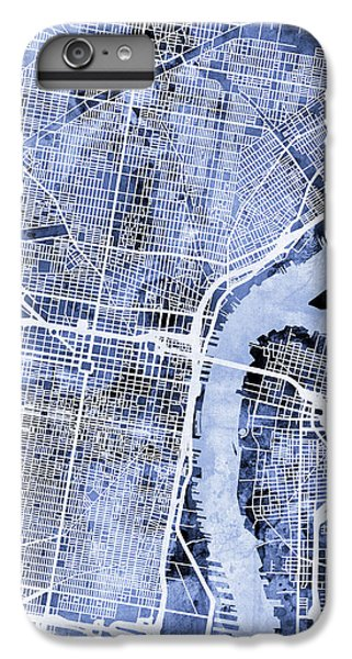 Philadelphia Pennsylvania City Street Map IPhone 6 Plus Case by Michael Tompsett