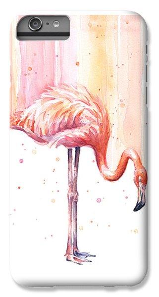 Flamingo iPhone 6 Plus Case - Pink Flamingo - Facing Right by Olga Shvartsur
