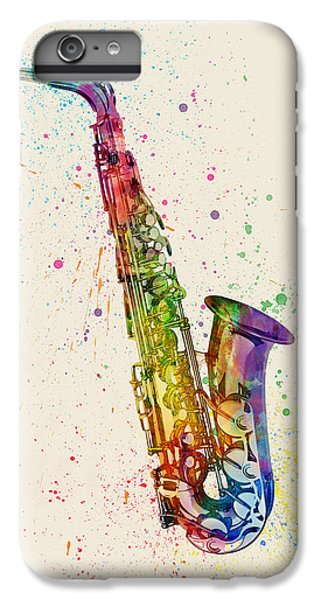 Saxophone iPhone 6 Plus Case - Saxophone Abstract Watercolor by Michael Tompsett