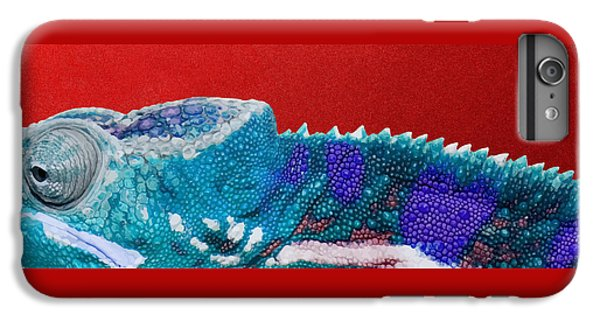 Bright iPhone 6 Plus Case - Turquoise Chameleon On Red by Serge Averbukh