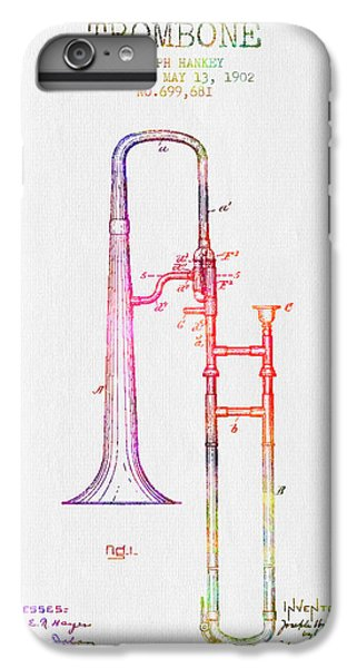 Trombone iPhone 6 Plus Case - 1902 Trombone Patent - Color by Aged Pixel