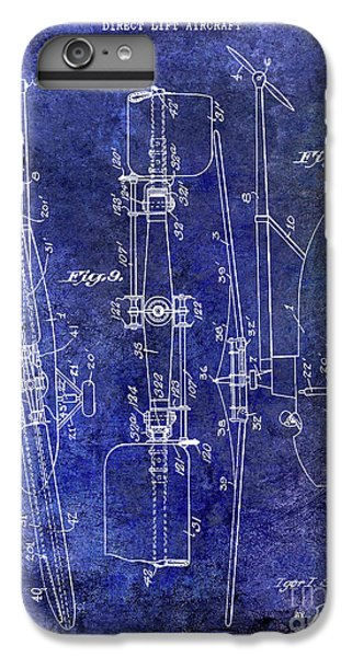 1935 Helicopter Patent Blue IPhone 6 Plus Case by Jon Neidert