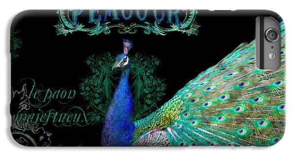 Elegant Peacock W Vintage Scrolls  IPhone 6 Plus Case by Audrey Jeanne Roberts