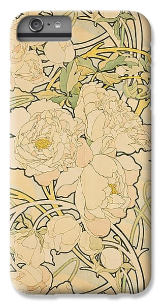 Flowers iPhone 6 Plus Case - Peonies by Alphonse Mucha