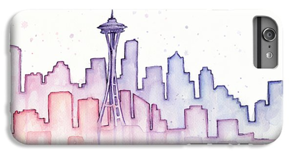 Seattle Skyline Watercolor IPhone 6 Plus Case by Olga Shvartsur