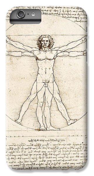 White iPhone 6 Plus Case - The Proportions Of The Human Figure by Leonardo Da Vinci
