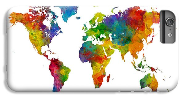 Planets iPhone 6 Plus Case - Map Of The World Map Watercolor by Michael Tompsett