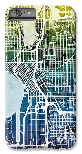 Seattle Washington Street Map IPhone 6 Plus Case by Michael Tompsett