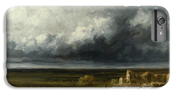 Barren iPhone 6 Plus Case - Stormy Landscape With Ruins On A Plain by Georges Michel
