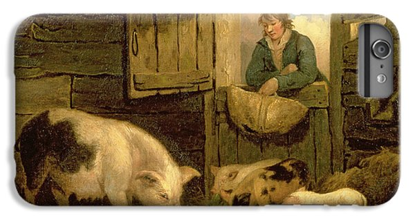 A Boy Looking Into A Pig Sty IPhone 6 Plus Case by George Morland