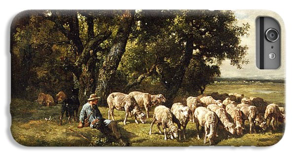 Sheep iPhone 6 Plus Case - A Shepherd And His Flock by Charles Emile Jacques