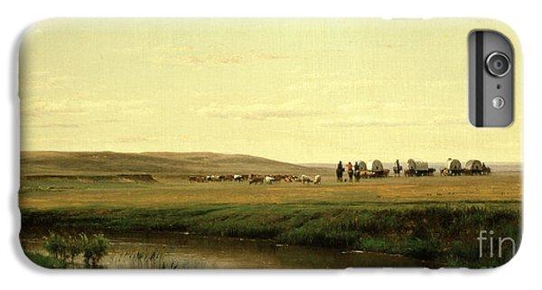 Barren iPhone 6 Plus Case - A Wagon Train On The Plains by Thomas Worthington Whittredge