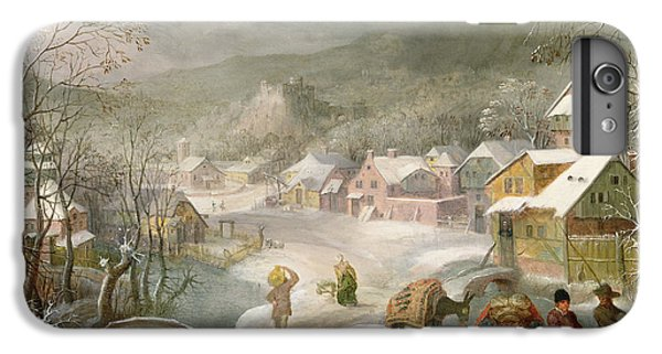 A Winter Landscape With Travellers On A Path IPhone 6 Plus Case by Denys van Alsloot