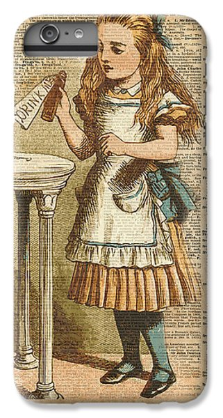 Fantasy iPhone 6 Plus Case - Alice In Wonderland Drink Me Vintage Dictionary Art Illustration by Anna W