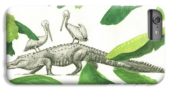 Alligator With Pelicans IPhone 6 Plus Case