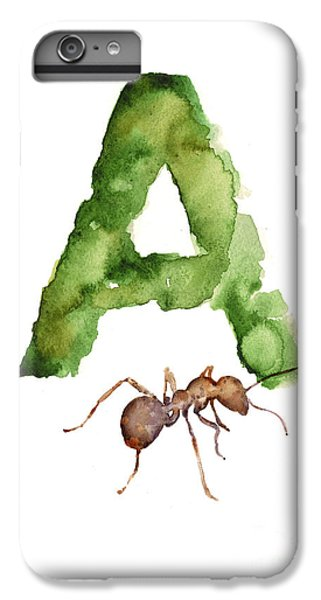 Ant iPhone 6 Plus Case - Ant Watercolor Alphabet Painting by Joanna Szmerdt