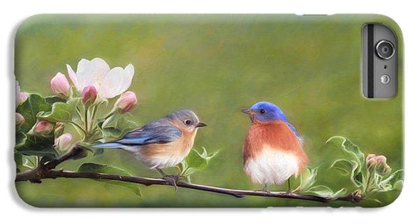 Bluebird iPhone 6 Plus Case - Apple Blossoms And Bluebirds by Lori Deiter
