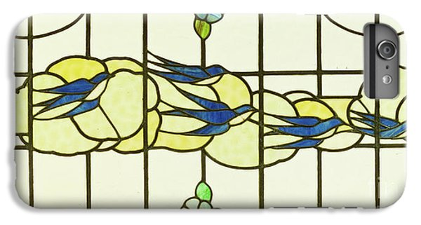 Arts And Crafts Panel Of A Group Of Swallows Before Clouds In A Border Of Flowers IPhone 6 Plus Case