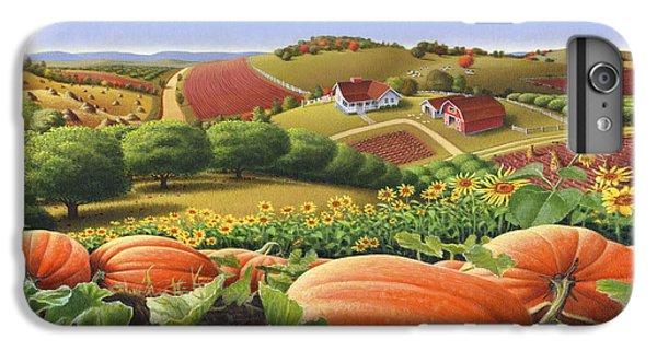 Farm Landscape - Autumn Rural Country Pumpkins Folk Art - Appalachian Americana - Fall Pumpkin Patch IPhone 6 Plus Case by Walt Curlee