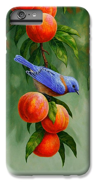 Bluebird iPhone 6 Plus Case - Bird Painting - Bluebirds And Peaches by Crista Forest