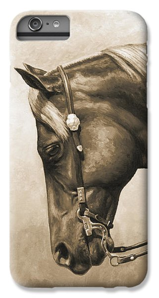 Horse iPhone 6 Plus Case - Western Horse Painting In Sepia by Crista Forest