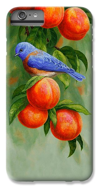 Bluebird And Peaches Greeting Card 2 IPhone 6 Plus Case by Crista Forest