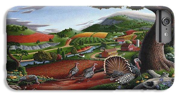 Wild Turkeys Appalachian Thanksgiving Landscape - Childhood Memories - Country Life - Americana IPhone 6 Plus Case